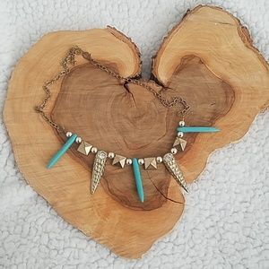 Turquoise Gold Statement Necklace
